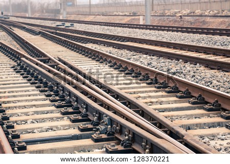 railroad metal track with track bed