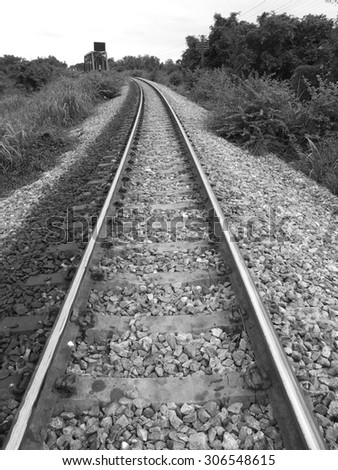 railroad of Thailand in black and white tone - stock photo