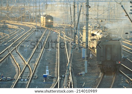 railroad rails path train station wire