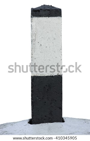 Railroad Route Rail Line Mile Marker Black White, Blank Empty Isolated Railway Distance Kilometer Milestone Mark Close-up Grunge Old Aged Concrete Kilometre Sign Copy Space Background - stock photo