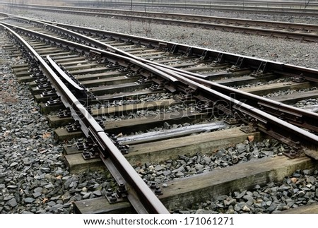 Railroad siding in a strong perspective view - stock photo