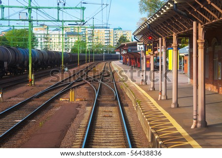 Railroad station in Karlsbad, Sweden - stock photo