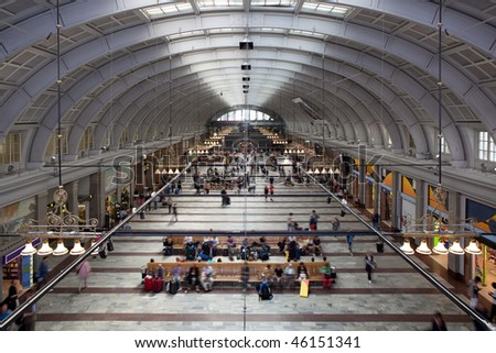 Railroad Station in Stockholm. - stock photo