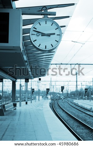 railroad station platform - stock photo