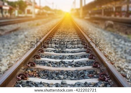Railroad station, railroad tracks for trains - stock photo