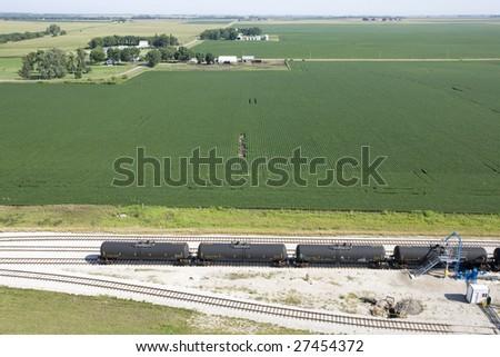 Railroad Tank Cars Transport Ethanol BioFuel - stock photo