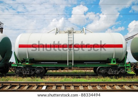 railroad tank cars with oil - stock photo