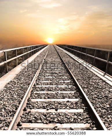 Railroad to heaven - stock photo