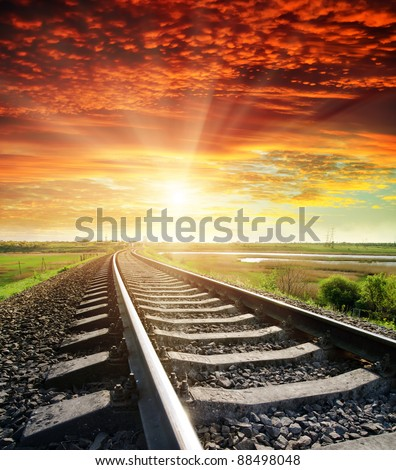 railroad to red sunset