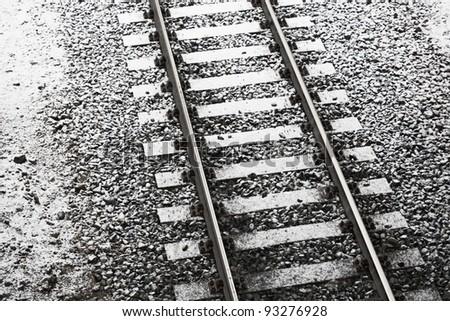 Railroad track at winter - stock photo