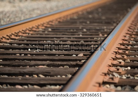 Railroad track, low angle.