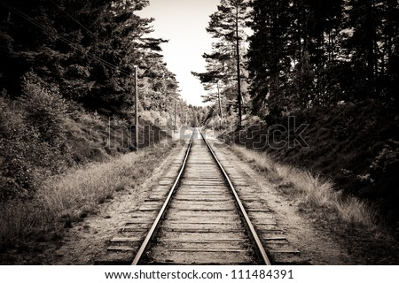 Railroad track sepia - stock photo
