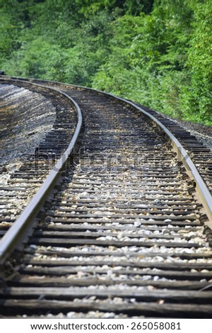 Railroad Track With Small Curve/ Right On Track/ The Way Forward - stock photo