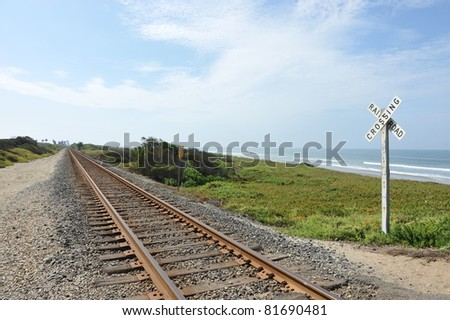 Railroad Tracks at Emma Wood State Beach Ventura California - stock photo