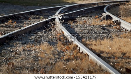 Railroad tracks at the Heritage Center in Limon, Colorado. - stock photo