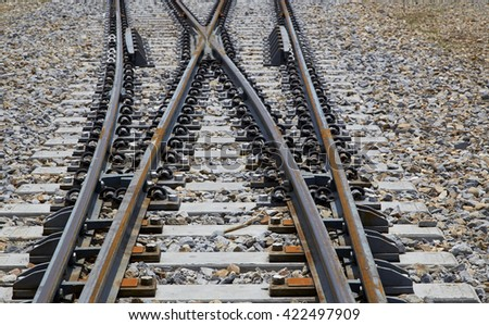 Railroad tracks crossing of a Public Thai Train Railway
