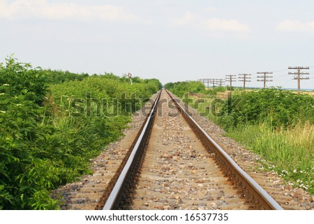 Railroad tracks disappearing into horizon