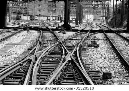 Railroad tracks in a switch yard - stock photo