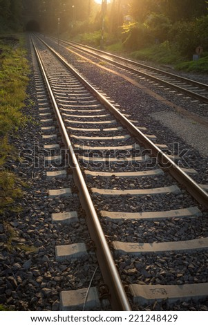 railroad tracks leading in tunnel  - stock photo