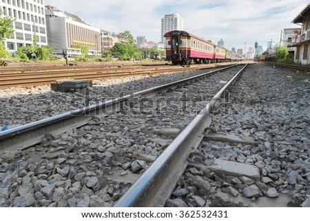 Railroad tracks line of a Public Thai Train Railway - stock photo