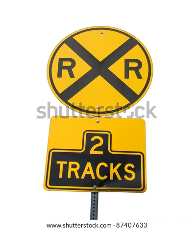 railroad tracks sign isolated on white background - stock photo