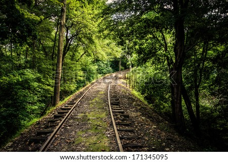 Railroad tracks through a forest in York County, Pennsylvania. - stock photo