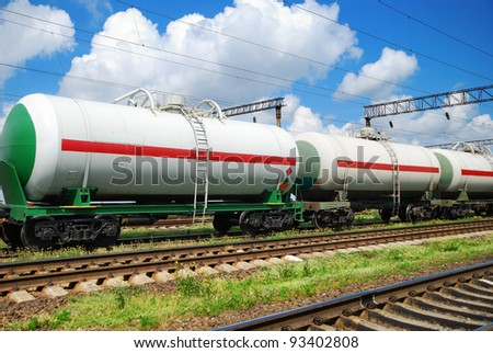 railroad transportation tank cars with oil - stock photo