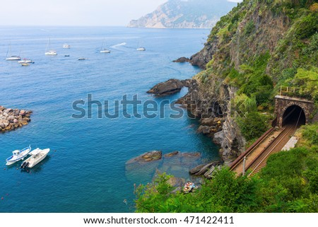 railroad tunnel at the picturesque coast of Vernazza, Cinque Terre, Italy