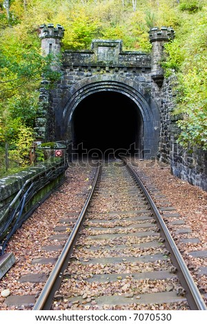 Railroad tunnel in to the mountain - stock photo