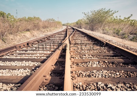 railroad turnout closeup , rail tracks background  - stock photo