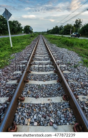 rails in landscape. Rails in Lamphun , Thailand