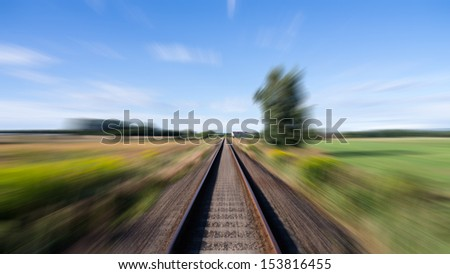 rails in landscape while driving