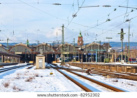 rails in winter at the station in Wiesbaden - stock photo
