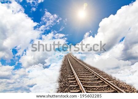 Rails to sky - stock photo