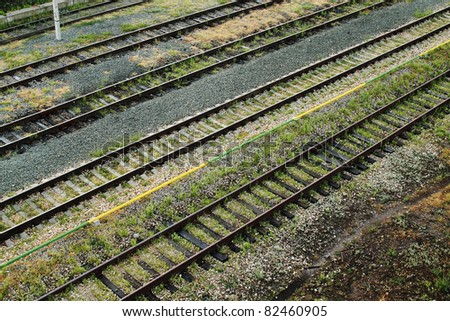 Rails top view background - stock photo