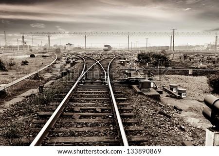 Rails under the sky background - stock photo