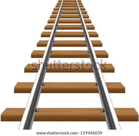 rails with wooden sleepers illustration isolated on white background