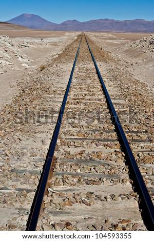 Railway across the andean altiplano - stock photo