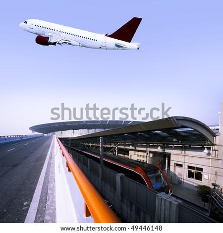 railway and subway station in shanghai china. - stock photo