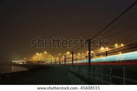 railway at night - stock photo