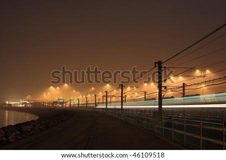 railway at night in Hong Kong - stock photo