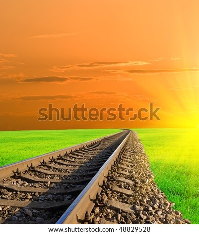 railway at the evening