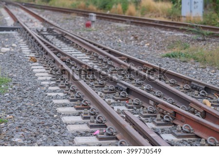 Railway at the platform and blur background