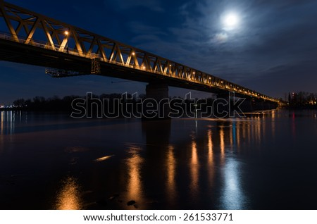 Railway bridge at night in full moon