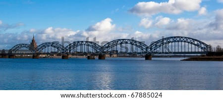 Railway bridge over the Daugava in Riga - stock photo