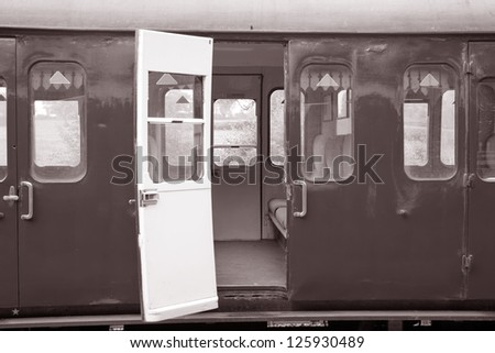 Railway Carriages in Black and White Sepia Tone