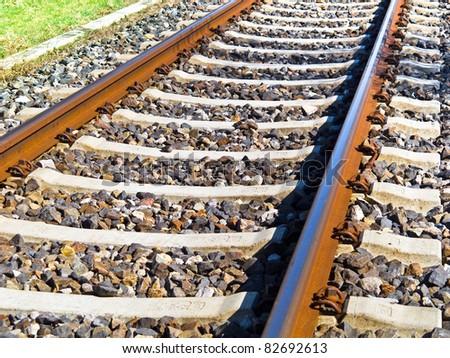 Railway close up - stock photo