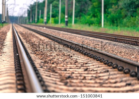 Railway close-up summer day - stock photo