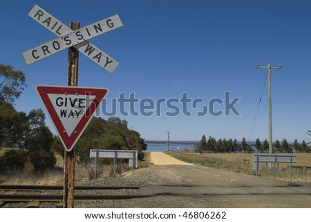 Railway Crossing by the Geelong line - stock photo