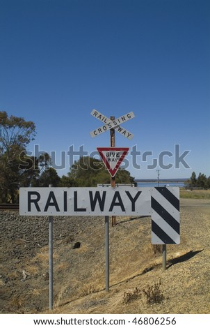 Railway Crossing the Geelong line - stock photo